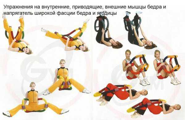 Упражнения с гибким обручем на мышцы бёдер и ягодицы