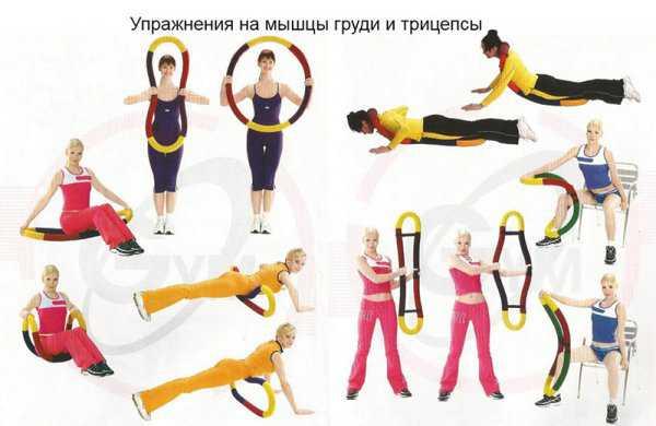 Упражнения с гибким обручем на мышцы груди и трицепсы
