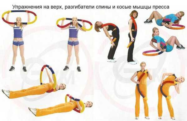 Упражнения с гибким обручем на спину и пресс